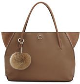 Louise et Cie Elin Leather and Real Rabbit Fur Tote