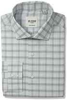 "Ben Sherman Men's Check Shirt with Spread Collar - Green, Grey/Green, 15.5"" Neck 32""-33"" Sleeve"