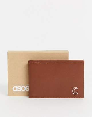 Asos Design DESIGN personalised leather cardholder in brown with 'C' initial