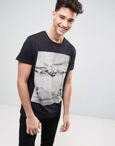 Pull&Bear T-Shirt With Death Mountain Print In Black