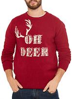 Joules Oh Deer Christmas Knit Jumper, Burgundy