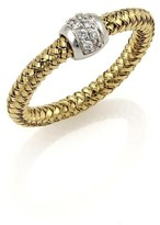 Roberto Coin 18K Yellow & White Gold with Diamond and Ruby Band Ring Size 6.25