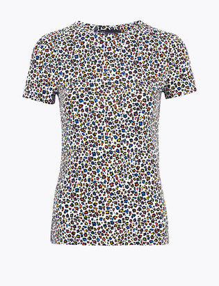 Marks and Spencer Cotton Animal Print Fitted Short Sleeve Top
