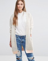 Maison Scotch Oversized Color Block Mohair Cardigan