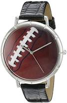 Whimsical Watches Football Lover Black Leather and Silvertone Photo Unisex Quartz Watch with White Dial Analogue Display and Multicolour Leather Strap T-0840017