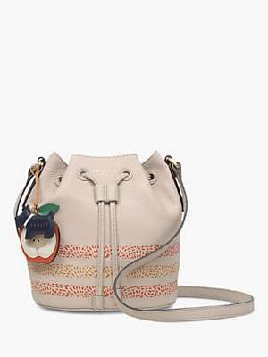 Radley To The Core Leather Drawstring Cross Body Bag, Light Natural