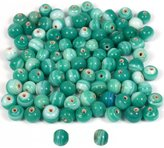 Generic Green White Swirl Lampwork Round Glass Beads Approx 95