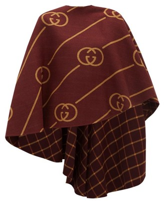 Gucci Gg-jacquard Wool-blend Cape - Womens - Burgundy Multi