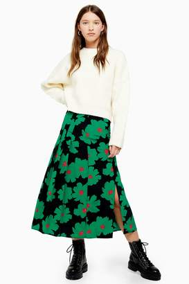Topshop Womens Green And Black Floral Pleated Midi Skirt - Green