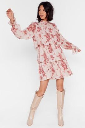 Nasty Gal Womens Tier We Are Floral Mini Dress - Beige - 4, Beige