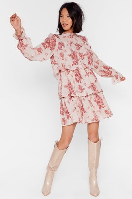 Nasty Gal Womens Tier We Are Floral Mini Dress - Beige - 4