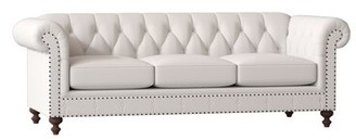 "Bernhardt London Chesterfield 92.5"" Rolled Arm Sofa Body Fabric: 5538-002, Leg Color: Aged Gray, Nailhead Detail: Antique Brass"