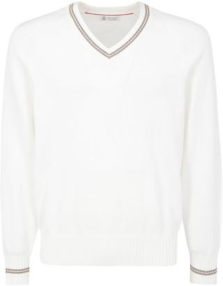 Brunello Cucinelli Striped Detail V-Neck Sweater