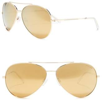 Cole Haan Metal Aviator 63mm Polarized Sunglasses
