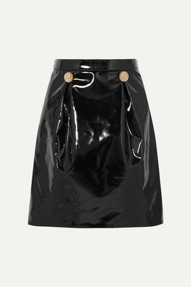 Versace Embellished Pvc Mini Skirt - Black