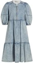 Thumbnail for your product : Sea Dax Acid Wash Denim Puff-Sleeve Midi Dress