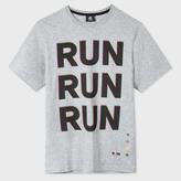 Paul Smith Men's Grey Marl 'Run' Print Organic-Cotton T-Shirt