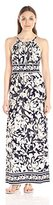 London Times Women's Matte Jersey Floral Printed Halter Maxi Dress