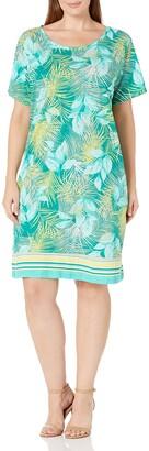 Caribbean Joe Women's Plus-Size Three Quarter Sleeve Slub Henley Dress
