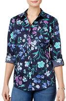 Karen Scott Petite Floral-Print Cotton Shirt