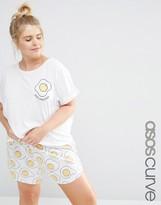 Asos Egg-Hausted Print T-Shirt And Short Pajama Set