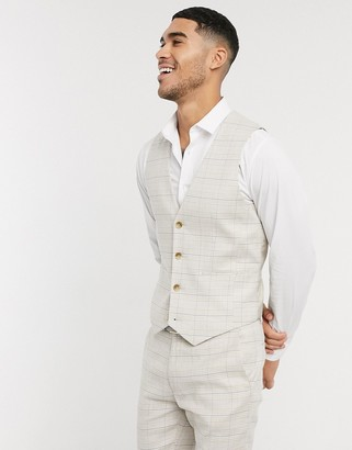ASOS DESIGN wedding super skinny suit waistcoat in stretch cotton linen in stone check