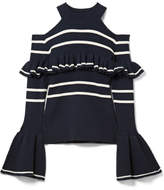 Self-Portrait Cold-shoulder Striped Cotton-blend Sweater - Midnight blue