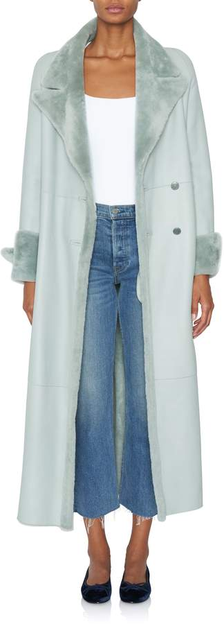 Alejandra Alonso Carola Blue Shearling Reversible Coat