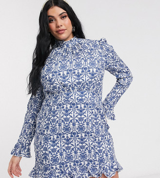 In The Style Plus exclusive high neck frill hem skater dress in blue floral baroque print
