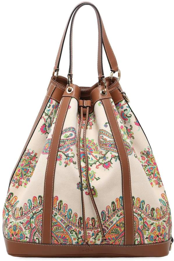 Etro Oversized Paisley Canvas Bucket Bag