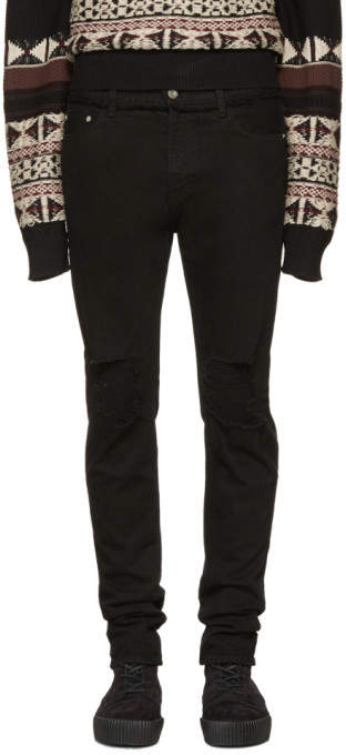 Christian Dada Black Knee Damaged Signature Skinny Jeans
