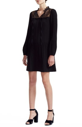 Maje Rockette Pleated Long Sleeve Shift Dress