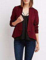 Charlotte Russe Shawl Lapel Ruched Sleeve Blazer