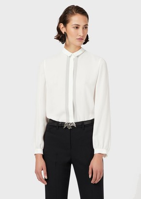 Emporio Armani Textured Mixed-Silk, Striped Shirt