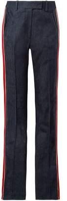 Calvin Klein Velvet-trimmed High-rise Straight-leg Jeans