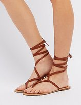 Charlotte Russe Lace-Up Toe Loop Sandals