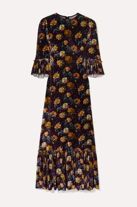 The Vampire's Wife Festival Ruffled Tiered Floral-print Velvet Maxi Dress - Burgundy
