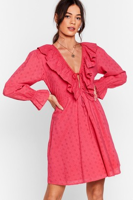 Nasty Gal Womens Frill Got Love For You Broderie Mini Dress - Hot Pink