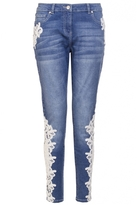 Quiz Blue Denim Crochet Detail Skinny Jeans
