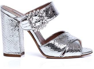 Tabitha Simmons Reyner snake-effect block heel sandals