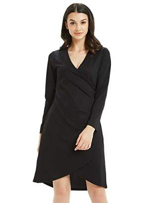 Basic Model Wrap Dress for Women V Neck Long Sleeve Tulip Hem Autumn Midi Dress