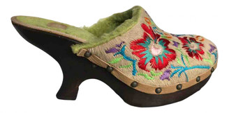 ras Green Faux fur Mules & Clogs