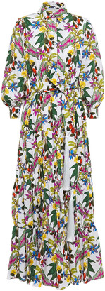 Borgo de Nor Clara Gathered Floral-print Cotton-poplin Maxi Shirt Dress