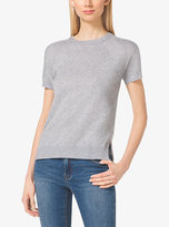 Michael Kors Short-Sleeve Cashmere-Blend Sweater