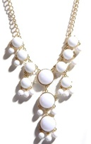 Gold White Dome Bead Dangle Necklace