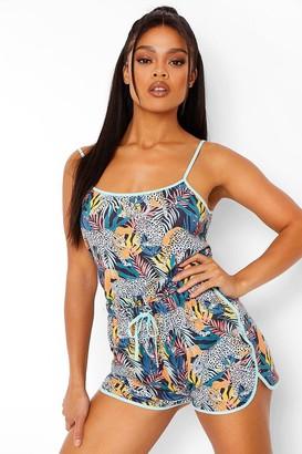 boohoo Jungle Print Jersey Cami and Pyjama Short Set