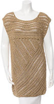 Tory Burch Metallic Open-Knit Tunic
