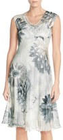 Komarov Floral Print Chiffon A-Line Dress (Regular & Petite)