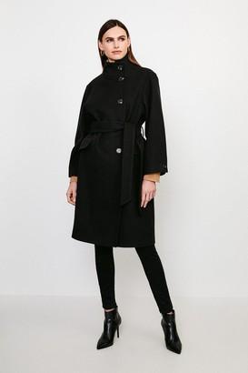 Karen Millen Belted Funnel Neck Coat
