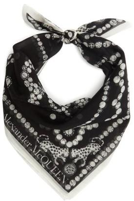 Alexander McQueen Logo-print Cotton-blend Bandana Scarf - Black White